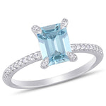 1 1/3 CT TGW Aquamarine and 1/10 CT TW Diamond Engagement Ring in 14k White Gold