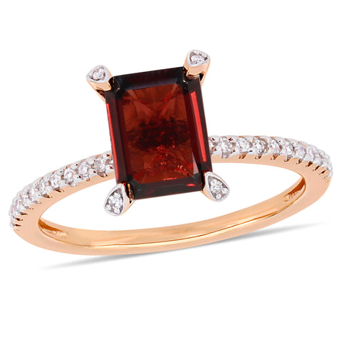 2 1/8 CT TGW Octagon-Cut Garnet and 1/10 CT TW Diamond Ring in 10k Rose Gold