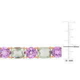 41 1/10 CT TGW Green Amethyst and Rose de France Mosaic Tennis Bracelet in Rose Gold Plated Sterling Silver