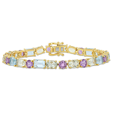 22 1/10 CT TGW Sky-Blue Topaz Green Amethyst and Amethyst Mosaic Tennis Bracelet in Yellow Gold Plated Sterling Silver