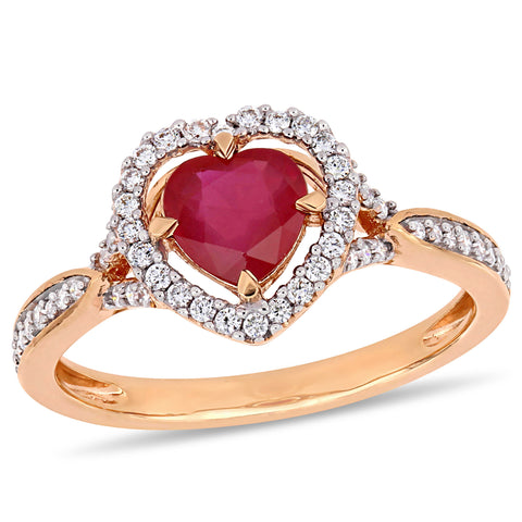 1 CT TGW Ruby and 1/4 CT TW Diamond Floating Heart Halo Crossover Ring 14k Rose Gold