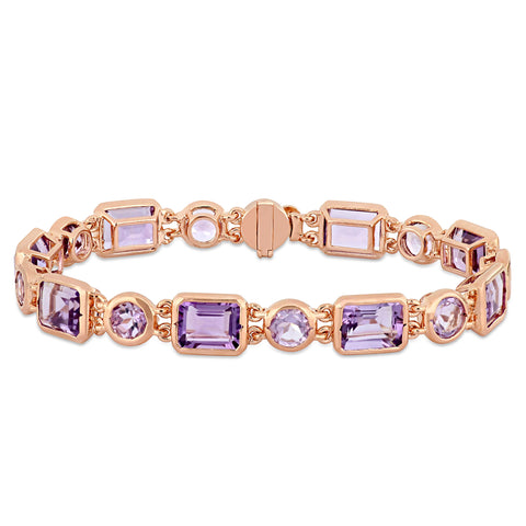 15 1/3 CT TGW Rose de France and Amethyst Link Bracelet in Rose Plated Sterling Silver