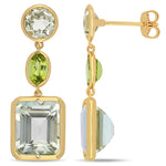 11 1/6 CT TGW Green Amethyst and Peridot Link Earrings in Yellow Plated Sterling Silver