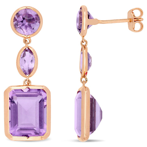 11 1/2 CT TGW Rose de France and Amethyst Link Earrings in Rose Plated Sterling Silver