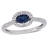 5/8 CT TGW Sapphire and 1/5 CT TW Diamond Floating Halo Ring in 14k White Gold