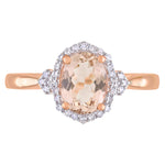 Morganite and 1/8 CT TW Diamond Halo Ring in 10k Rose Gold