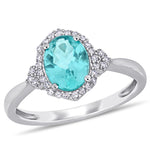 1 1/3 CT TGW Apatite and 1/8 CT TW Diamond Halo Ring in 10k White Gold
