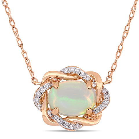 3/4 CT TGW Ethiopian Blue Opal and 1/10 CT TW Diamond Interlaced Halo Necklace 10k Rose Gold
