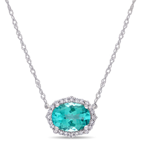 1 1/3 CT TGW Apatite and 1/10 CT TW Diamond Vintage Halo Necklace in 10k White Gold
