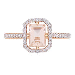 Morganite and 1/4 CT TW Diamond Halo Ring in 14k Rose Gold