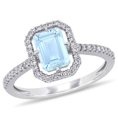 1 CT TGW Aquamarine and 1/4 CT TW Diamond Halo Ring in 14k White Gold