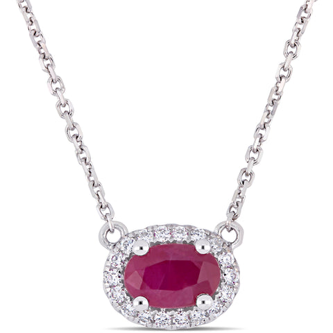 3/5 Ct TGW Oval Shape Ruby and 1/10 Ct TW Diamond Halo Necklace in 14k White Gold