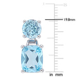 11 1/6 CT TGW Round and Cushion Cut Sky Blue Topaz Dangle Earrings in Sterling Silver