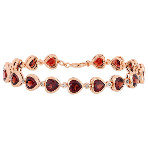 14 2/5 CT TGW Heart-Cut Garnet Link Bracelet in Rose Plated Sterling Silver