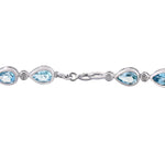 7-1/2 CT TGW Pear-Cut Sky-Blue Topaz Link Bracelet in Sterling Silver