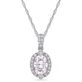 1 CT TGW Moissanite and 1/8 CT TW Diamond Oval Halo Pendant with Chain in 10k White Gold