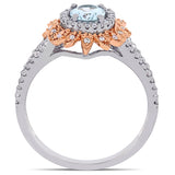 5/8 CT TGW Aquamarine and 1/5 CT TW Diamond Halo Split Shank Ring in 10k White and Rose Gold