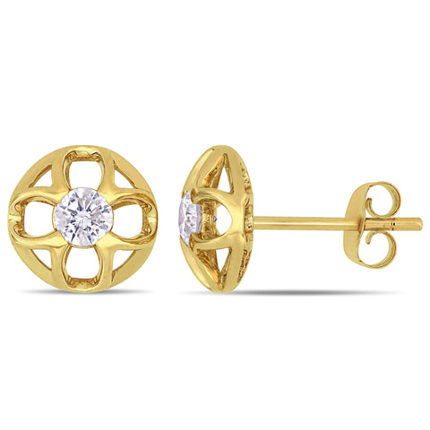 1/3 CT TW Diamond Clover Circular Post Stud Earrings in 10k Yellow Gold
