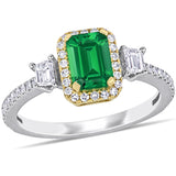 1 CT TGW Emerald and 1/2 CT TW Diamond Halo Ring in 14k White and Yellow Gold