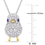 2 3/4 CT TGW Created Blue and White Sapphire Chick Necklace in 2-Tone White and Yellow Plated Sterling Silver