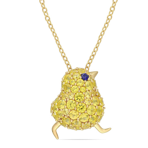 3 CT TGW Created Blue and Yellow Sapphire Chick Necklace in Yellow Plated Sterling Silver
