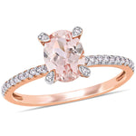 1 1/7 CT TGW Morganite and 1/10 CT TW Diamond Ring in 10k Rose Gold