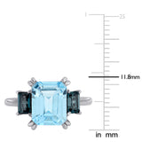 4 7/8 CT TGW Sky Blue and London Blue Topaz 3-Stone Ring in 14k White Gold