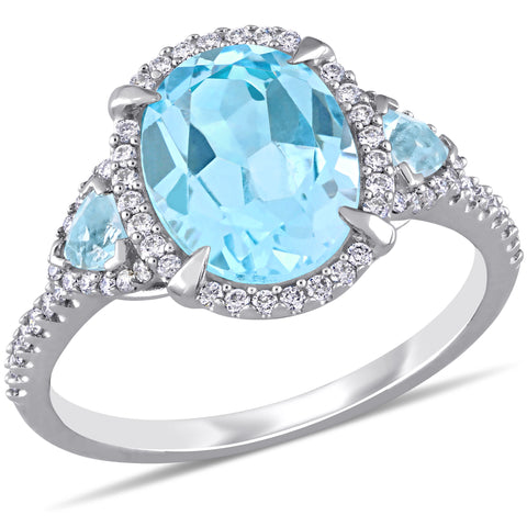 4 CT TGW Sky-Blue Topaz and 1/4 CT TW Diamond 3-Stone Halo Ring in 14k White Gold