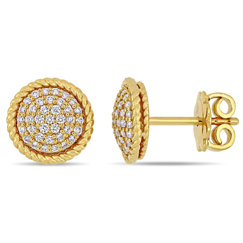 1/3 CT TW Diamond Circular Stud Earrings in 14k Yellow Gold