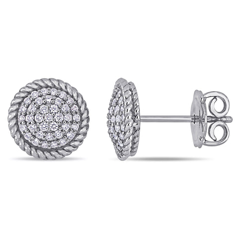 1/3 CT TW Diamond Circular Stud Earrings in 14k White Gold