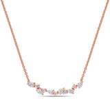 3/8 CT TW Round and Pear Diamond Cluster Necklace in 14k Rose Gold