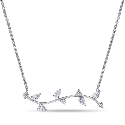 3/8 CT TW Round and Pear Diamond Leaf Necklace in 14k White Gold
