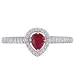 2/5 CT TGW Ruby and 1/5 CT TW Diamond Halo Ring in 14k 2-Tone White and Rose Gold