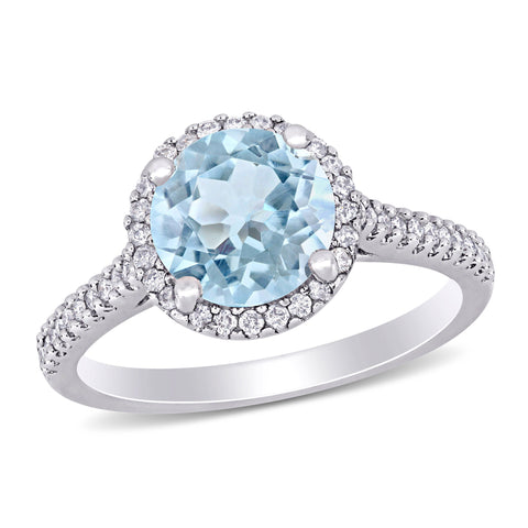 Aquamarine and 1/4 CT TW Diamond Halo Engagement Ring in 14k White Gold