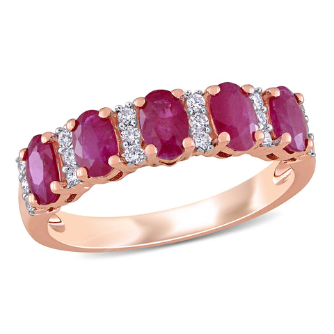 1 3/8 CT TGW Ruby and 1/6 CT TW Diamond Semi Eternity Ring in 14k Rose Gold