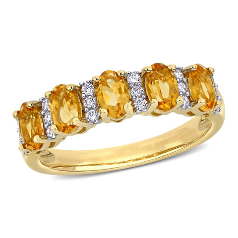 1 1/6 CT TGW Citrine and 1/6 CT TW Diamond Semi Eternity Ring in 14k Yellow Gold