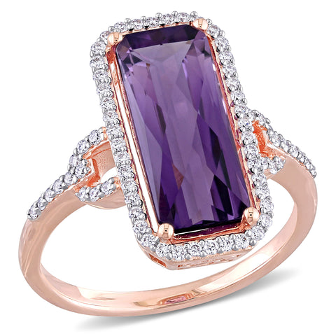 5 CT TGW Amethyst and 1/4 CT TW Diamond Halo Engagement Ring in 14k Rose Gold