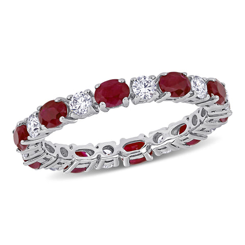 Ruby and 5/8 CT TW Diamond Eternity Ring in 14k White Gold