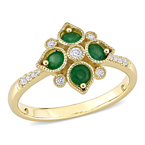 Emerald and Diamond Geometric Ring in 14k Yellow Gold