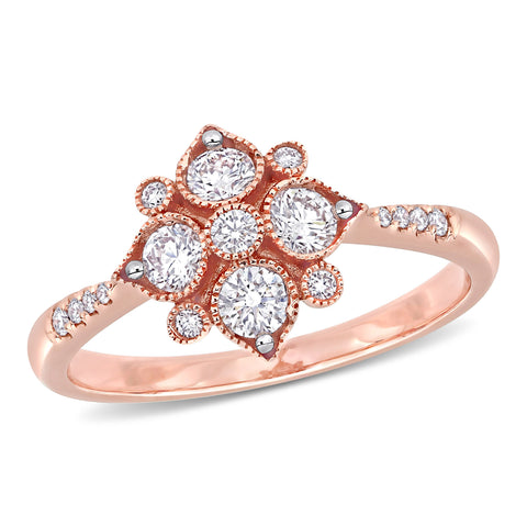 1/2 CT TW Diamond Geometric Engagement Ring in 14k Rose Gold