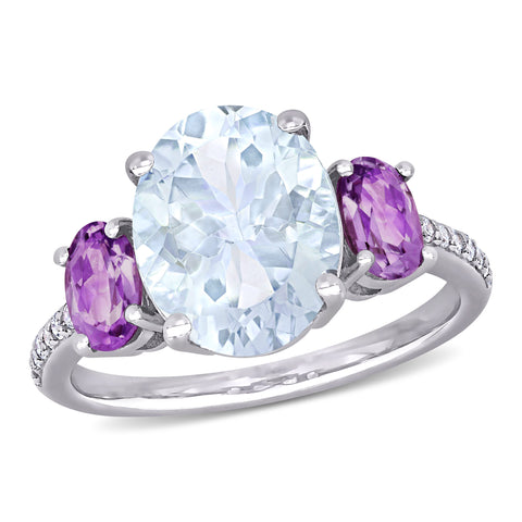 3 4/5 CT TGW Ice Aquamarine, Amethyst and 1/10 CT TW Diamond 3-Stone Ring in Sterling Silver