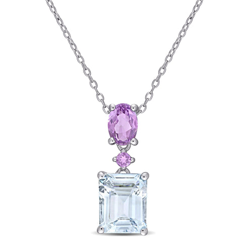 3 4/5 CT TGW Ice Aquamarine and Amethyst Two-Tier Dangle Pendant with Chain in Sterling Silver