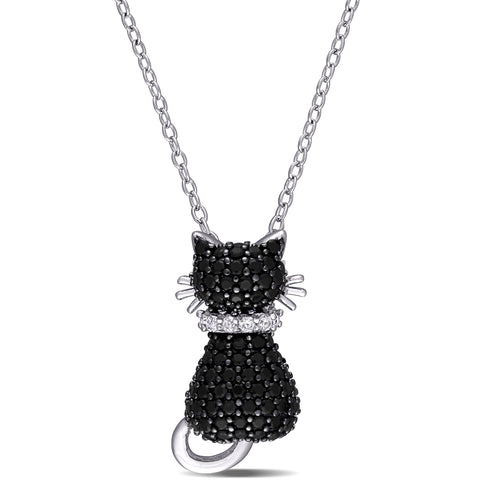 Black Spinel and Created White Sapphire Kitty Cat Pendant with Chain in Sterling Silver with Black Rhodium