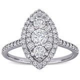 1 CT TW Diamond Marquise Shape Composite Engagement Ring in 10k White Gold