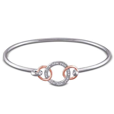 Diamond Interlocking Circle Bangle in Sterling Silver