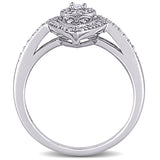 1/4 CT TW Diamond Vintage Marquise Shaped Halo Ring in Sterling Silver