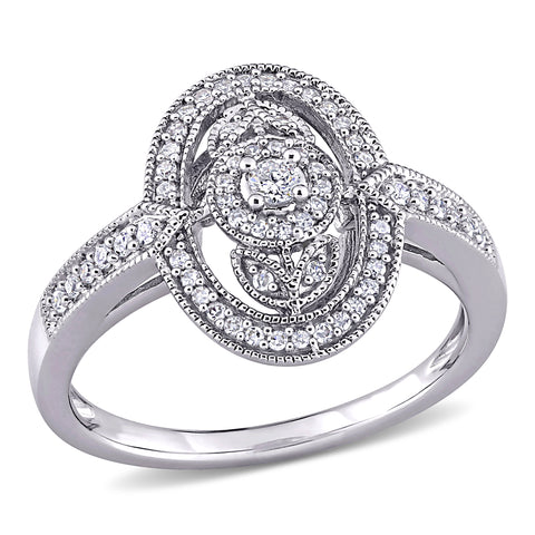 1/4 CT TW Diamond Vintage Oval Shaped Halo Ring in Sterling Silver