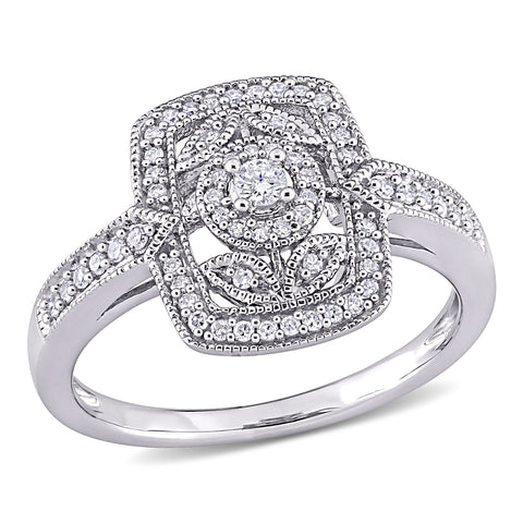 1/4 CT TW Diamond Vintage Cushion Shaped Halo Ring in Sterling Silver