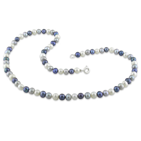 "16-1/2"" Single-row 5-6mm Freshwater Cultured Black, White and Grey Potato Pearl Necklace w/Silver tone Lobster Clasp"