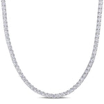 46.35 CT TGW Cubic Zirconia Necklace Silver White Tongue and Groove Clasp Length (inches): 17